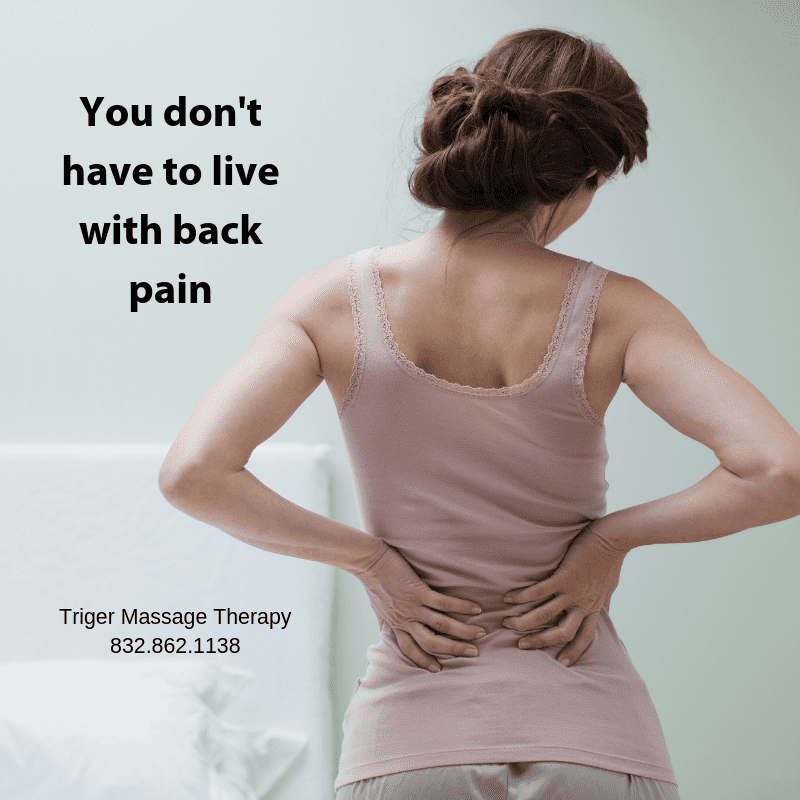 triger massage therapy social media post about booking an appoint to relieve back pain