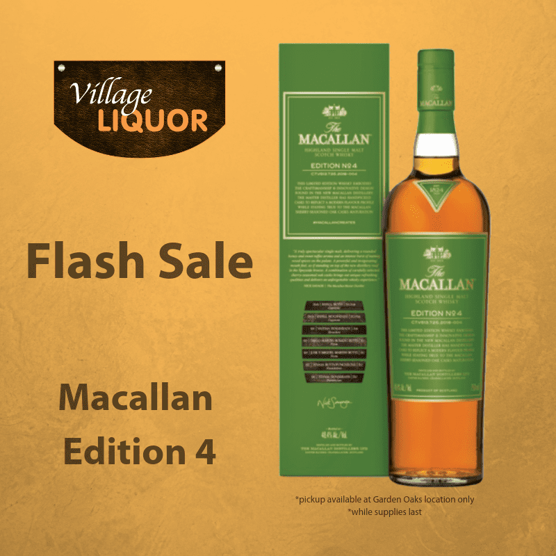 social media post for village liquor holding a flash sale of macallan edition 4 whiskey